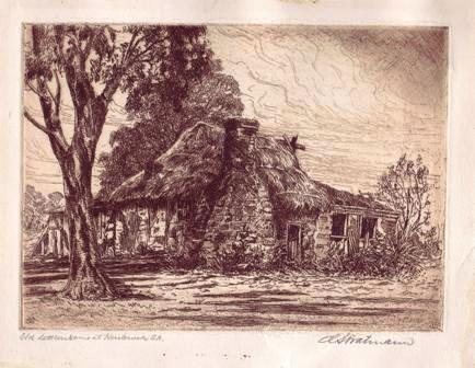 """Old Settler's Home Kersbrook, SA"" Etching by Carl Stratman"